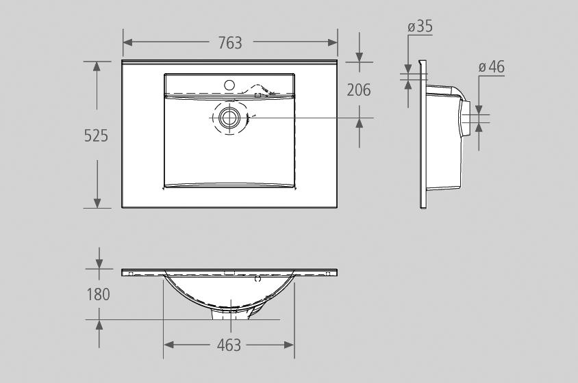 Badmöbel Trendline 750 anthrazit seidenglanz | Badmöbel aus eigener ...