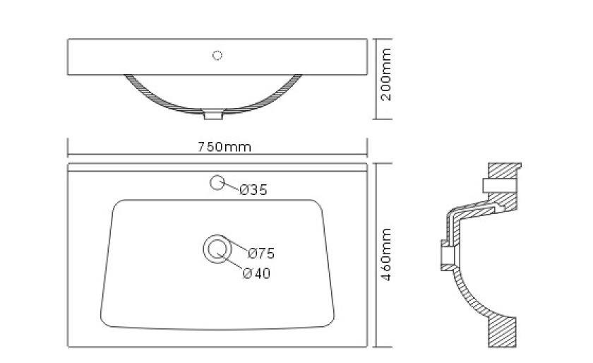 badm bel mia 75 weiss hochglanz badm bel mit waschbecken. Black Bedroom Furniture Sets. Home Design Ideas